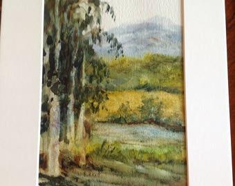 Original watercolor, eucalyptus and mountains