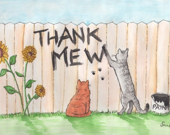 "Thank you ""Thank Mew"" Cats Downloadable Digital JPEG File"