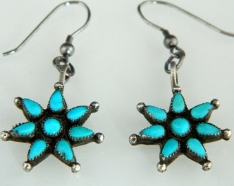 Old Pawn Zuni Natural Turquoise Sterling Silver Handmade Native American Turquoise Earrings