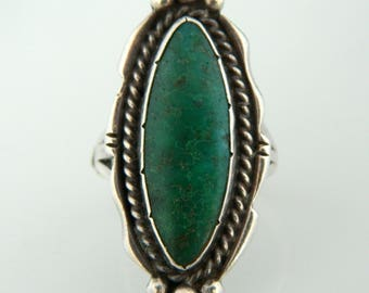 Native American Green Turquoise Sterling Silver Large Ring Size 6 3/4 -7