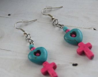 Christian Earrings, Earrings For Kids, Pink Cross Beads, Christian Jewelry, Turquoise Cross, Cross Earrings, , Cross Jewelry