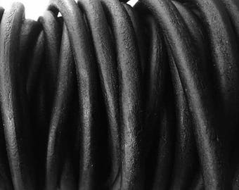 """28""""  Pre Cut 6mm Round Leather Cord, Black Matte Natural Dye Round Leather, Soft, flexible"""