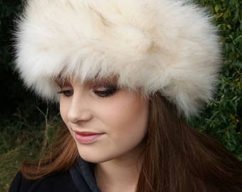 Long Cream Faux Fur Headband / Neckwarmer / Earwarmer Handmade in Lancashire England