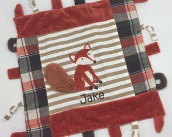 Baby boy gift, personalized baby gift boy, blanket with tags, taggy minky blanket, monogrammed taggy fox