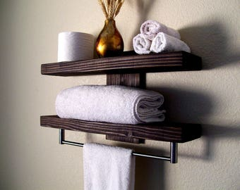 Bathroom Shelves Floating Shelves Towel Rack Bathroom Shelf Wall Shelf Wood Shelf  Floating Shelf Toilet Paper