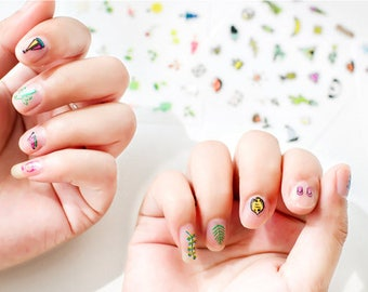 4 Pack New Forest Floral Flowers Vacation Beach Fashion Women Nail sticker