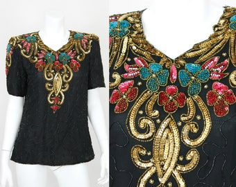 Vintage Sequin Blouse Gold Red Silk Size Small Top Shirt