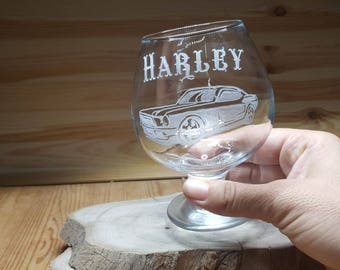 Mustang Gift, Ford Mustang,  Mustang Artwork, Mustang Decor, Car Art, Mustang Art, Engraved Mustang, Custom Mustang glass,Ford Snifter Glass
