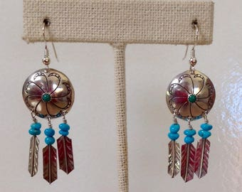 Navajo Sterling Silver Turquoise Native American Concho Feather Dangle Earrings