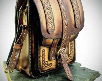 Vintage leather Bag, Leather Bag, Celtic Bag, Viking Bag, Steampunk leather bag.
