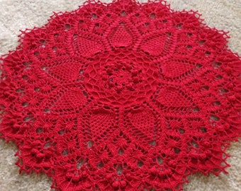 Absolutely Gorgeous Red Pineapple Doily, Handmade Crocheted