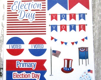 Election Planner Stickers, Election Day, Primary, Vote, Voting Booth, Matte Removable