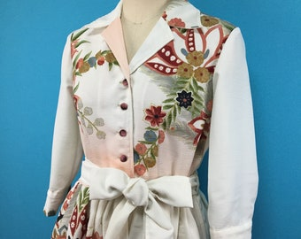 Kimono dress- US size 6- open-collared- side zipper- vintage kimono fabric