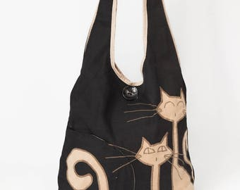 Cool cats shoulder bag, hand painted black fabric