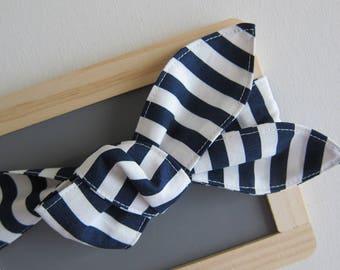 womens hair scarf - head wrap - rockabilly hair scarf - navy stripe bandana - nautical headband for women - top knot bow headband