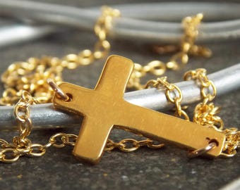 Gold Cross Necklace. Minimalist Necklace. Layering Necklace. Religious Jewelry