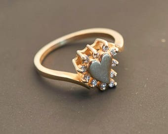 """14K Yellow Gold """"Heart  and 11 Diamond"""" Ring - 0.11 Carat Total Weight"""