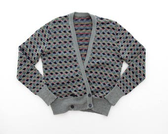 Vintage Sweater // Colorful Geometric Print Cardigan