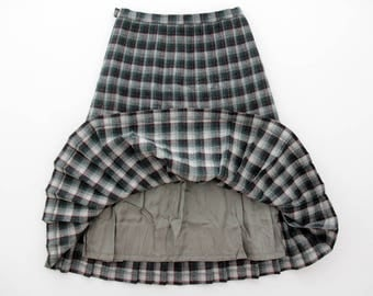 Vintage skirt // plaid pleat midi skirt // size L