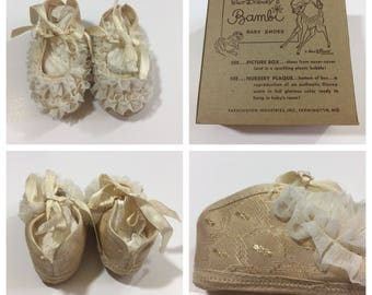 1950's Walt Disney Bambi Baby Shoes - Size 1 - Vintage Crib Shoes - Vintage Bambi - Disney Baby Shoes - Vintage Disney - Disney Collection