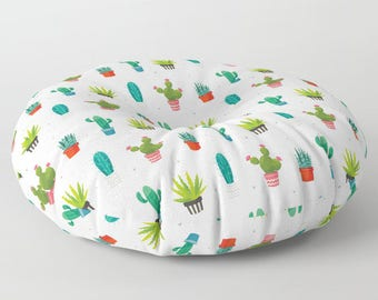 Cactus print Square / round trendy Floor Pillow, cactus art, Home Decor Succulent Pillow, Gift For Girls, Gift For Her, Kids Room, Teen Room