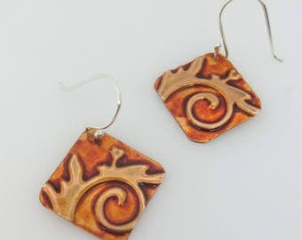 Floral Pattern Earring - Zentangle Inspired Earrings - Embossed Earrings - Colorful Jewelry - Inexpensive Jewelry - Gift