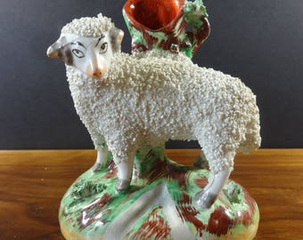20th Century Reproduction Staffordshire Spill Vase of a Ram and Tree Stump with Coralene Wool Decoration