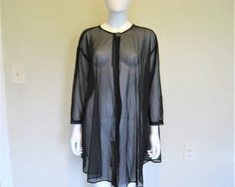 ON SALE Ovesized Black Mesh Sheer see through Cover up