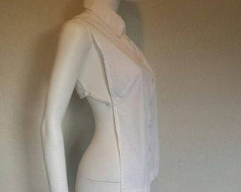 25% off SALE Open back white collared button down shirt