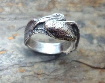 Pelican Ring Hand Made in Sterling Silver or Gold
