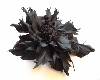 Leather flower brooch, Leather pin, accessories, leather hair accessories, brooch pin, black flower brooch, natural, unique, art jewelry