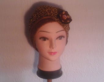 Chemo Hat reversible stretch Cheetah, woman, girl for the winter