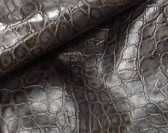 EMB120 Leather Cow Hide Cowhide Craft Fabric Dark Gray Embossed Reptile 11 sq ft  Free Shipping !!!
