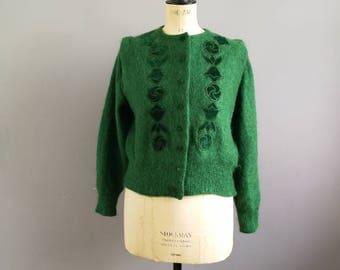Green mohair cardigan / vintage embellished green cardigan / emerald green wool and velvet mohair cardigan / forest green 80s cardigan
