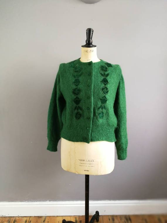 Green mohair cardigan / vintage embellished green cardigan / emerald green wool and velvet mohair cardigan / forest green 80s cardigan