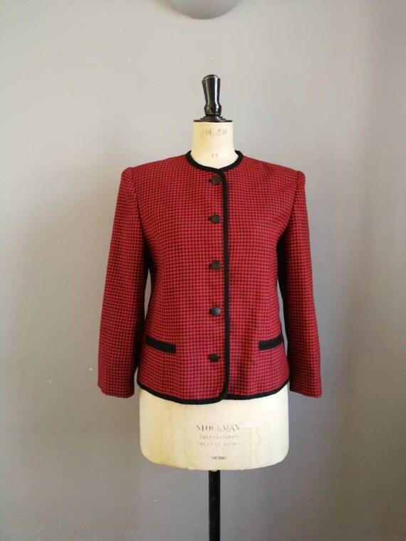 Red black houndstooth jacket / cropped 90s jacket / 90s grunge boxy blazer / red jacket with black trim / punk style jacket / 90s fashion