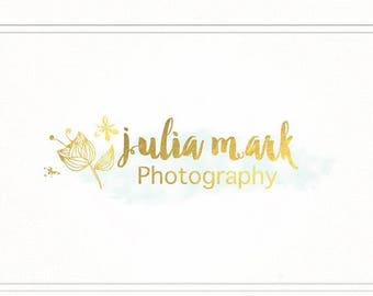 ON SALE Photography Logo. Premade Design. Gold Brushed Logo with Watermark - L051