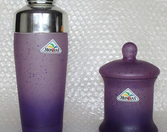Cocktail shaker Shaker and sugar bowl glass Montana of purple 80s party 80 s vintage