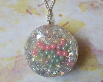 Glitter Resin Necklace, Glitter Jewellery, Iridescent Rainbow Pendant, Valentines Gift, Statement Jewellery, Pastel Heart, Gift for Her