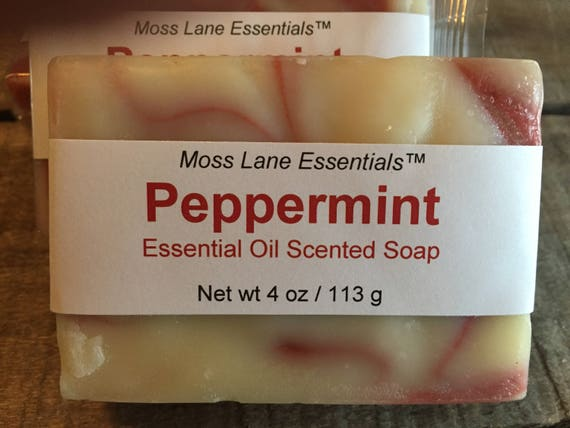 Peppermint Essential Oil Scented Cold Process Soap with Shea Butter