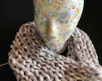 HAND KNIT COWL   Infinity Scarf   White/Beige/Grey with Silver Thread