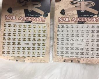 3D Nail Accessory 2 Sheets Chanel Gold and Silver