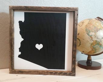 Arizona. 13.5x13.5 distressed wood sign - black and white  sign - gallery wall sign -  Arizona sign - housewarming gift - state sign