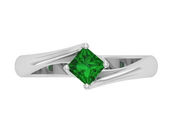 Certified AAA Princess Emerald Solitaire Engagement Ring 14K White Gold   Natural Emerald Engagement Ring White Gold   Woman Engagement Ring