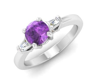 Natural Amethyst Ring With VS Diamond, Amethyst Engagement Ring/ Wedding Ring / Anniversary Ring / Gemstone Ring | Three Stone Ring