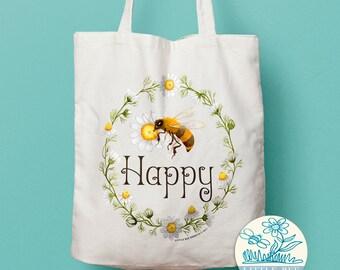 Bee Happy Tote Bag - Shopping Bag, Cotton Tote, Long-handled tote bag