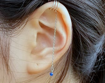 172) No Piercing Triple Band Ear Cuff For Upper Cartilage with Chain and Swarovski Crystal Bead