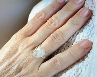 Ring in 925 sterling silver Moonstone. Christmas gift for women 30 40-50 years