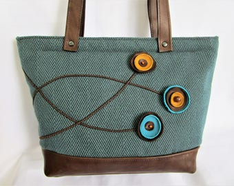 Leather and tweed handbag, Shoulder bag, Large purse, Teal purse and leather