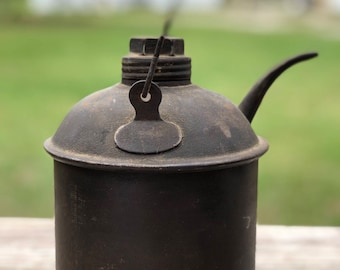 Antique oil can, railroad oil can, metal container, farmhouse decor, industrial decor,